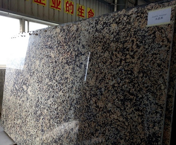 Polished Giallo Crystal bookmatch granite slabs