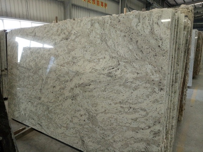 andromeda white granite stair step