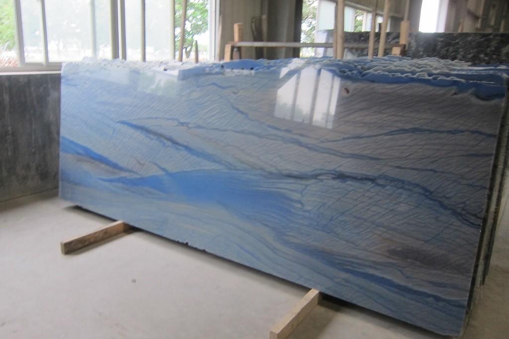 azul macuba blue macuba  brazil bluequartzite slab