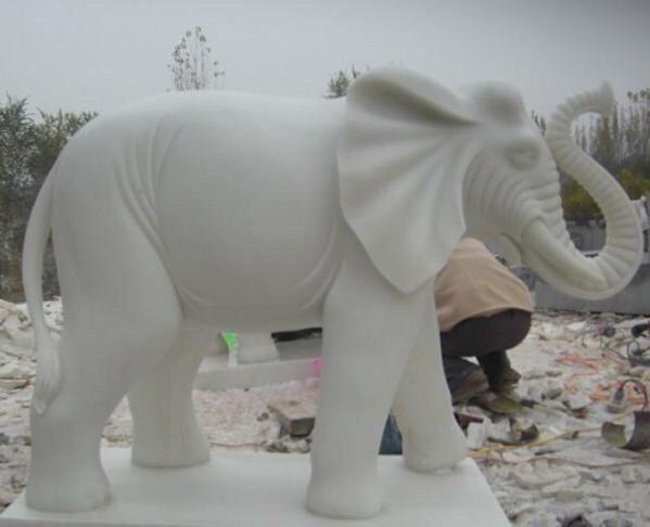 Elephant White Marble Stone Carv