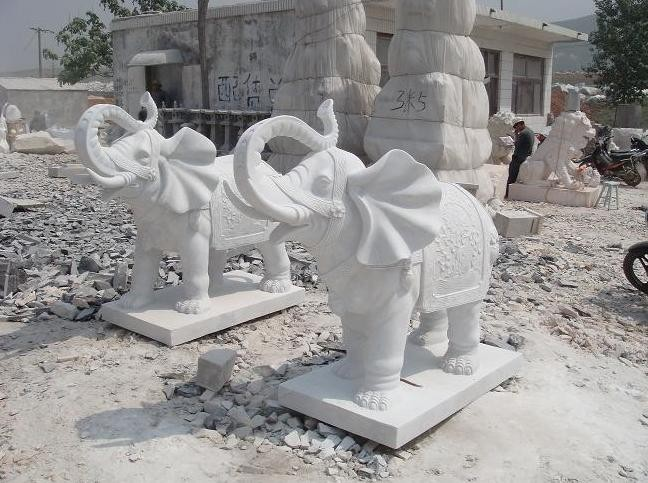 White Elephant Carving Statue Sculpture