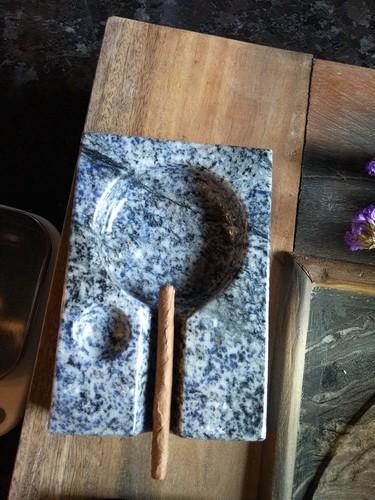 stone art article gift granite azul bahia ashtray
