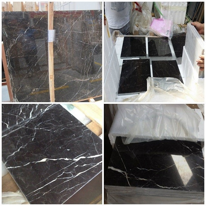 St Laurent cheap Black Marble floor stair paving