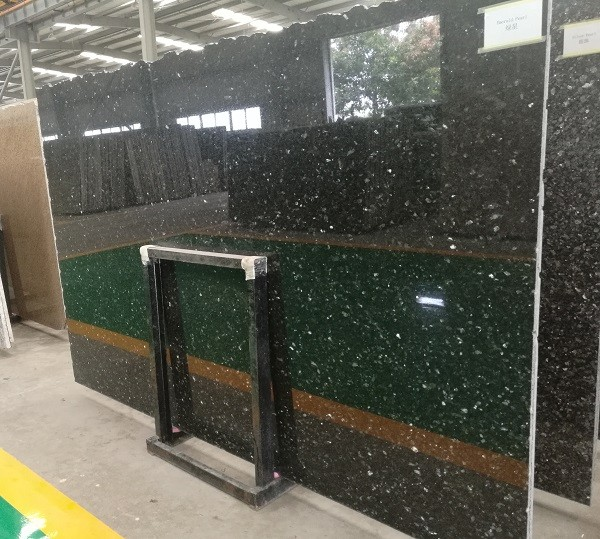 Natural Polished Black Granite Slab Emerald Pearl