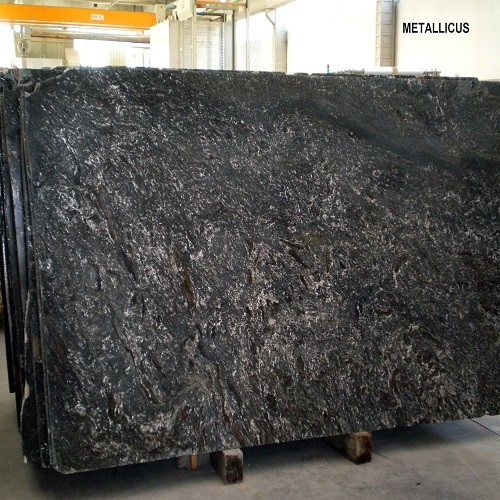 Natural Black Granite Slab Metallicus