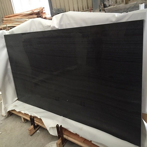 China Polished Black Wood Vein Marble Slab