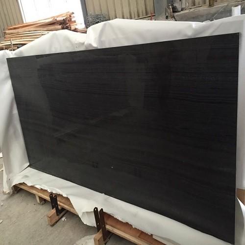 China Polished Black Wood Vein Marble Slab