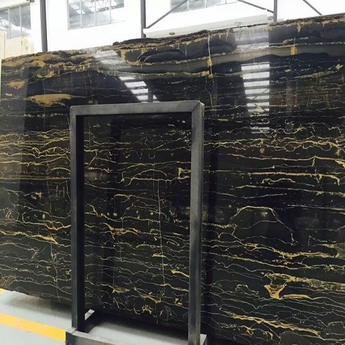 Natural Polished Black Marble with Gold Vein