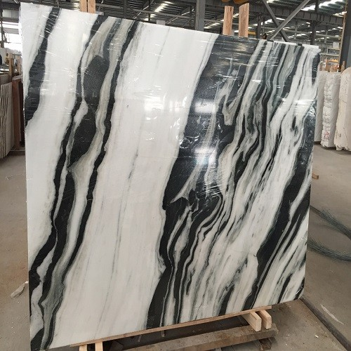 Polished White Marble Slab with Black Vein