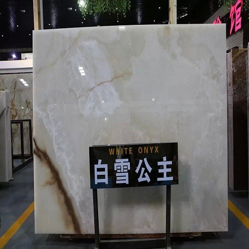 Polished White Onyx Marble Slab for Flooring / Wal