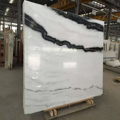 White Marble Slab with Black Vein for Flooring