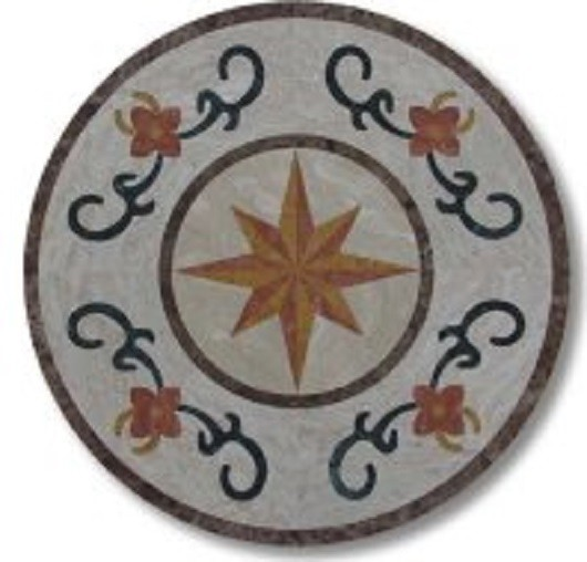 Marble Water-Jet Medallion Tile for Hall