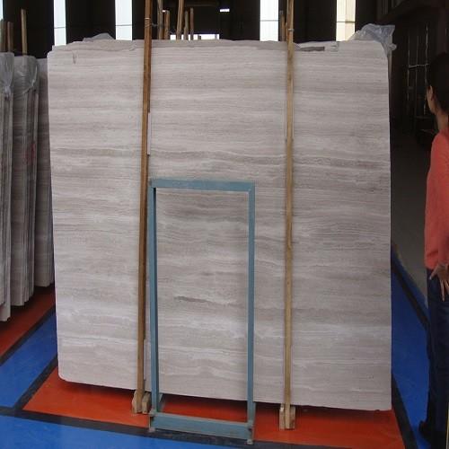 Natural White Wooden Grain Marble Stone