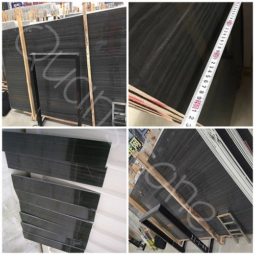 Polished Black Wood Grain Marble Flooring Tiles