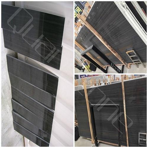 Polished Black Wood Grain Marble Tiles and Slabs