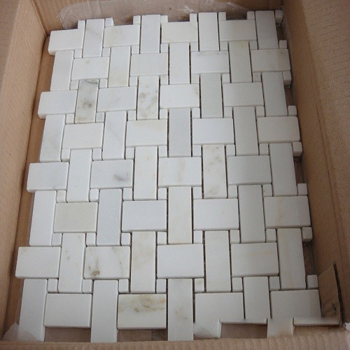White Rectangle Mosaic Marble for Wall Decorative
