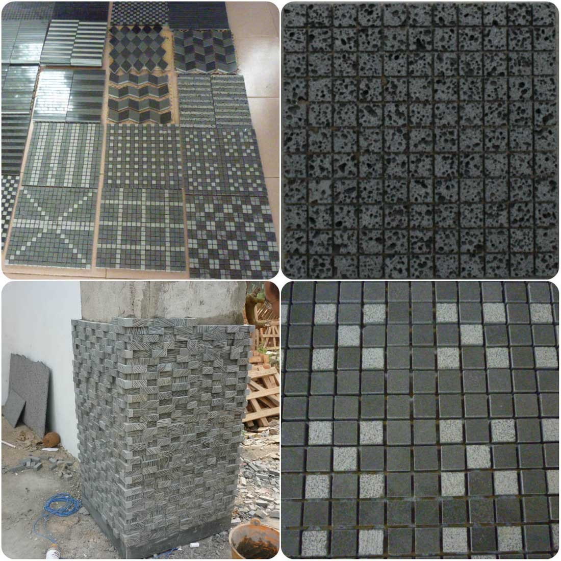 Basalt mosaicTile for wall cladding system