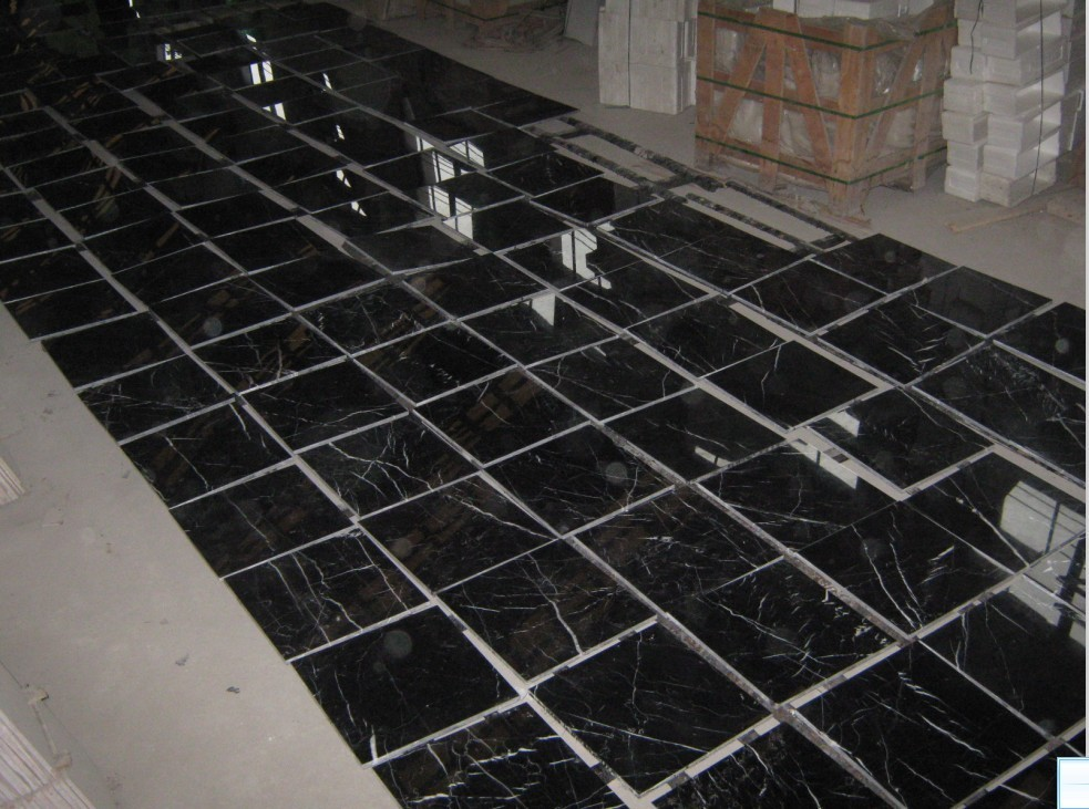 Black Marble Tile : Black marquina marble tiles for bathroom flooring