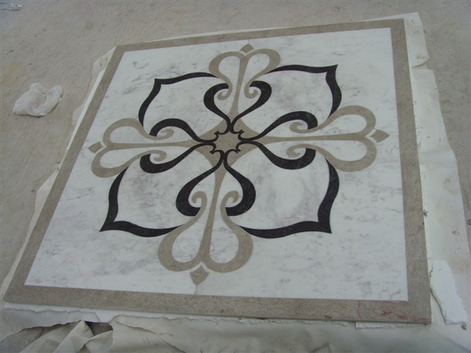 Stone water-jet medallion for hotel lobby