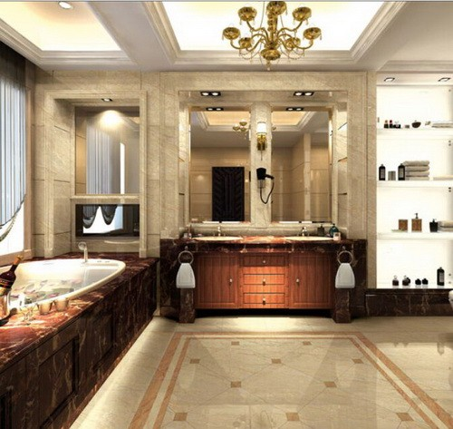 Beige Marble Slab Waterfall/Island/floor