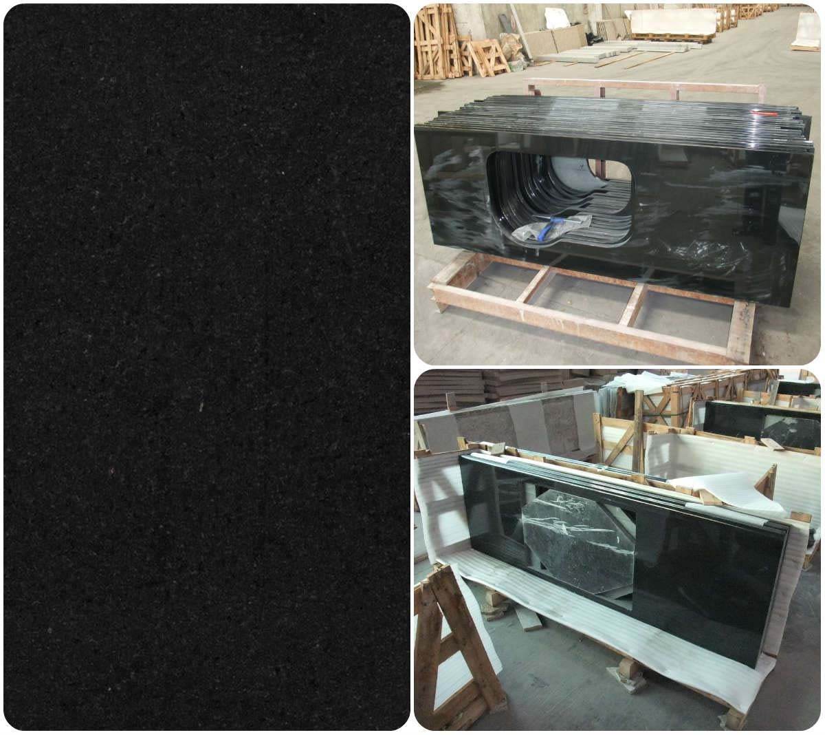 Chinese Absolute Black Granite Marble Countertop f